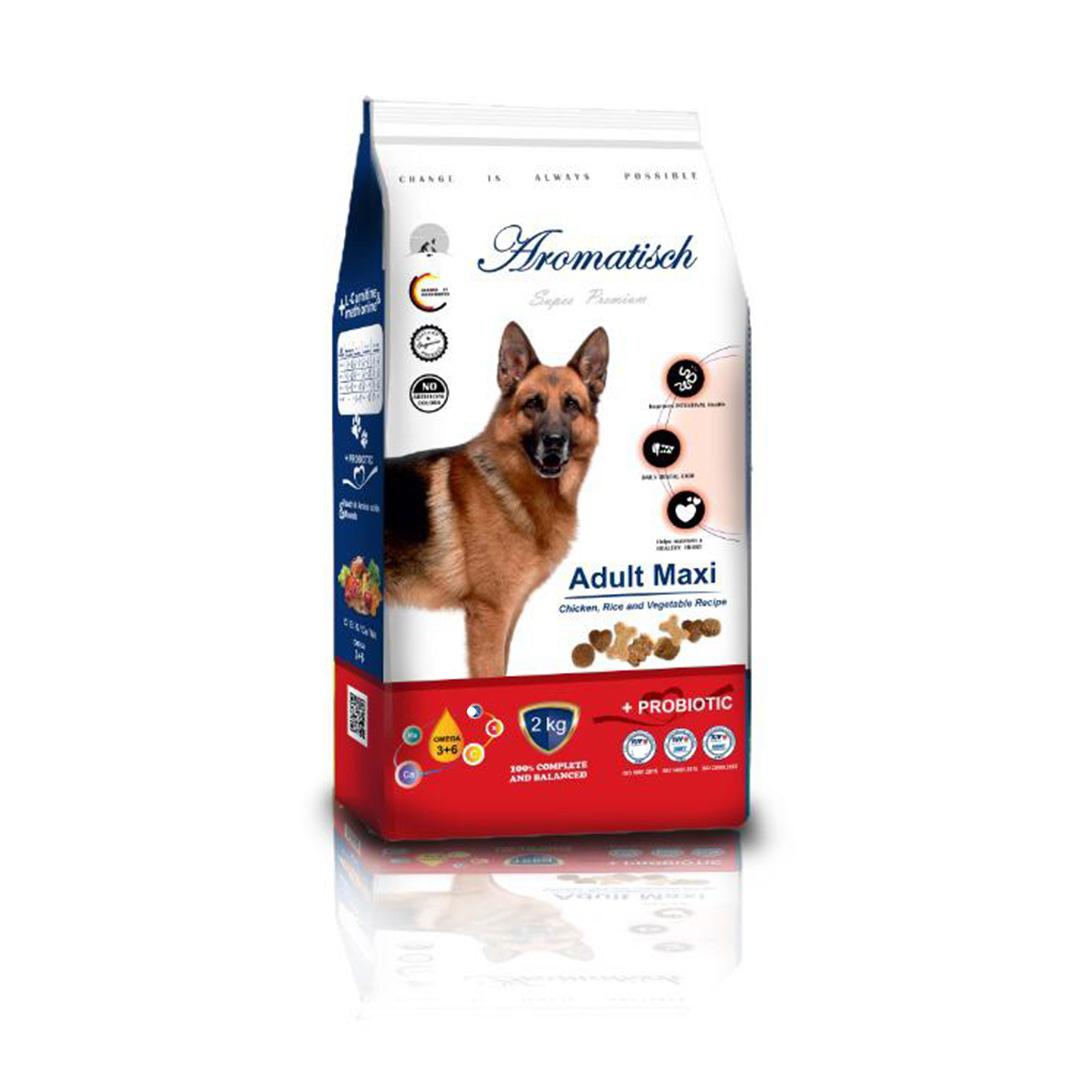غذای خشک آروماتیک سگ بالغ مکسی با طعم مرغ 2 کیلویی