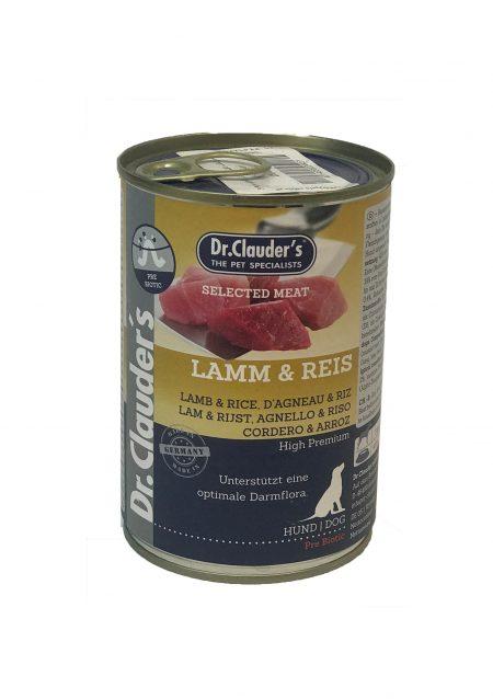 کنسرو سگ دکتر کلادرز حاوی گوشت بره و برنج (400گرم)