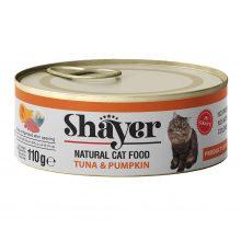 کنسرو نچرال شایر با طعم تن و کدو حلوایی در سس گوشت مخصوص گربه 110 گرمی