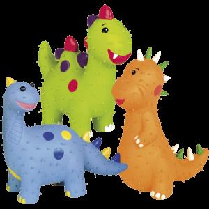 اسباب بازی لاتکس خاردار نوبی طرح دایناسور در سه رنگ نارنجی، آبی، سبز