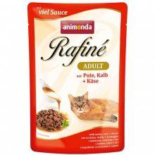 پوچ رافینه گربه بالغ حاوی گوشت بوقلمون و گوساله در سس پنیر(100گرم)