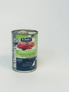 کنسرو سگ دکتر کلادرز حاوی گوشت بره و سیب (400گرم)